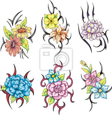 Kolorowe Tatuaże Tribal Kwiat Obrazy Redro