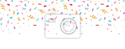 Obraz Kolorowy konfetti granicy rama powtórzyć wzór. Świetne na przyjęcie urodzinowe lub zaproszenie na świętowanie uroczystości. Wzór powierzchni.