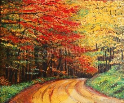 Obraz Kolorowy obraz olejny przedstawiający las drogowego