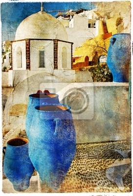 Kolory Santorini - grafika w paintig styl