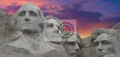Kolory Zachód słońca nad Mount Rushmore