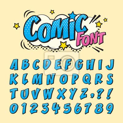 Obraz Komiks retro zestaw czcionek. Litery alfabetu i liczby w stylu komiksu, pop-artu na tytuł, nagłówek, plakat, komiks lub projekt banera. Kolekcja typografii kreskówek.