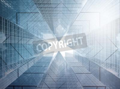 Obraz Kompozycja architektoniczna wykonana z korporacyjnych budynków. Abstrakcyjne tła biznesowych
