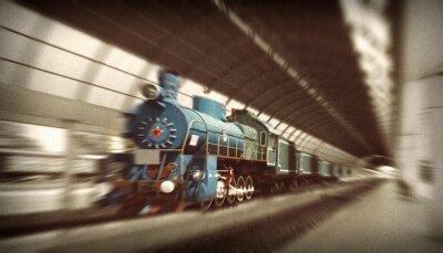 Obraz Komunistyczny lokomotywa z czerwoną gwiazdą na początku 20 wieku,