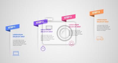 Koncepcja biznesowa z etapami lub procesami. Infografiki projekt wektor i ikony marketingowe mogą być używane do układu przepływu pracy, diagramu, raportu rocznego, projektowania stron internetowych.