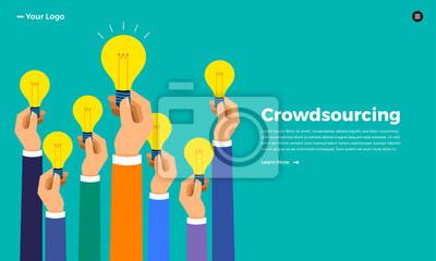 Obraz Koncepcja crowdsourcingu z płaską koncepcją. Wektor ilustrują.