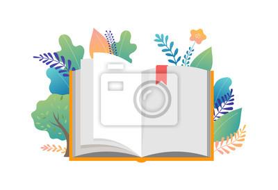 Obraz Koncepcja festiwalu książki - grupa małych ludzi czytających ogromną otwartą książkę. Ilustracja wektorowa, plakat i baner