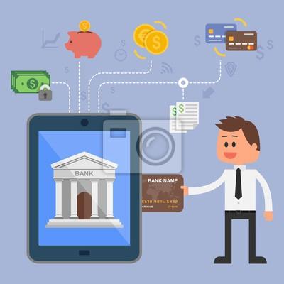 Koncepcja ilustracji wektorowych z bankowości internetowej. Ikony internetowych płatności mobilnych, kart kredytowych, przelewów bankowych i oszczędności pieniędzy