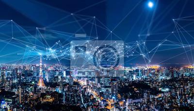 Obraz Koncepcja inteligentnego miasta i sieci komunikacyjnej. IoT (Internet of Things). ICT (Information Communication Network).