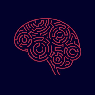 Obraz koncepcja kreatywnego myślenia, kształt ludzkiego mózgu w połączeniu z wzorem labiryntu