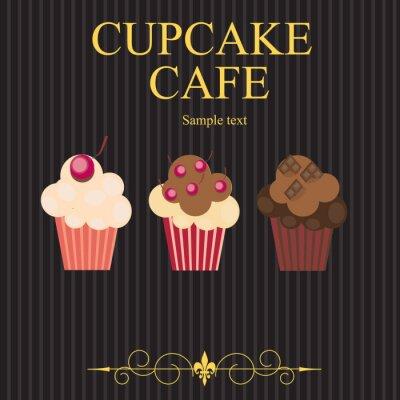Obraz Koncepcja menu kawiarni posypką. Ilustracja wektorowa