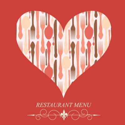 Obraz Koncepcja menu restauracji na Walentynki. Vector illustr