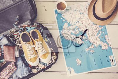 Obraz Koncepcja planowania podróży na mapie