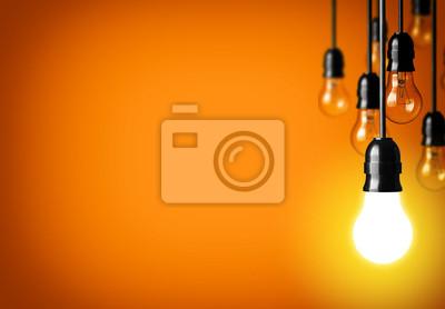 Obraz Koncepcja pomysł na pomarańczowym tle.