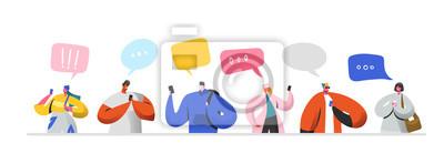 Obraz Koncepcja relacji wirtualnych sieci społecznościowych. Płascy ludzie znaków na czacie przez Internet za pomocą smartfona. Grupa mężczyzny i kobiety z telefonów komórkowych. Ilustracji wektorowych