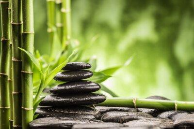 Obraz Koncepcja spa z zen kamienie bazaltowe i bambus