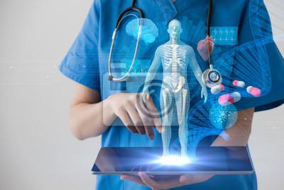 Obraz Koncepcja technologii medycznej. Elektroniczny rejestr medyczny.