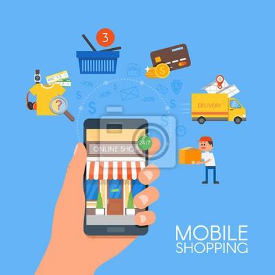 Koncepcja zakupów online mobilnych. Ilustracji wektorowych w stylu płaskim stylu. Płatność w internecie.