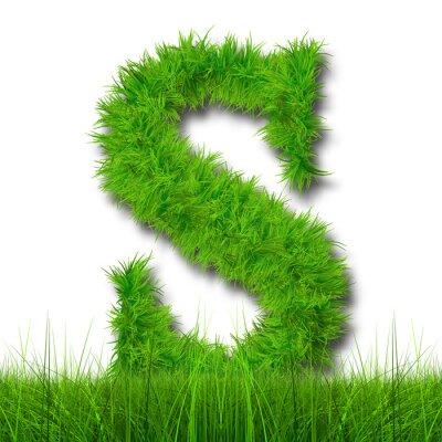 Obraz Koncepcyjne czcionki zielona trawa 3D isoalted