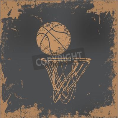 Obraz Konstrukcja do koszykówki na starym papierze tle, wektor