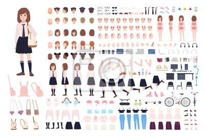Obraz Konstruktor szkolny lub zestaw do majsterkowania. Zestaw części ciała młodych kobiet znaków, mimikę, jednolite na białym tle. Widoki z przodu, z boku i z tyłu. Ilustracja kreskówka płaski wektor