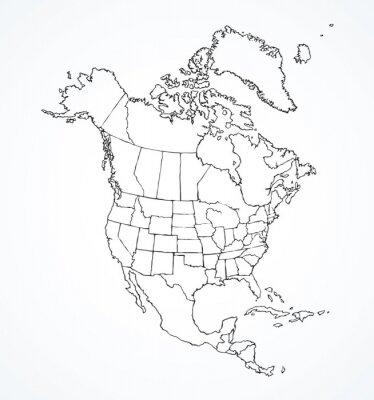 Obraz Kontynent północnoamerykański z konturami krajów. Rysunek wektor