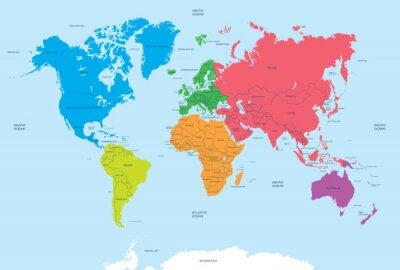 Obraz Kontynentach świata i politycznej mapie