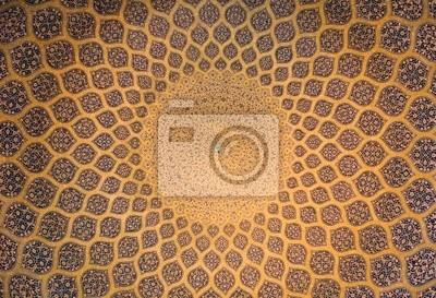 Kopuła meczet, orientalne ozdoby z Isfahan, Iran