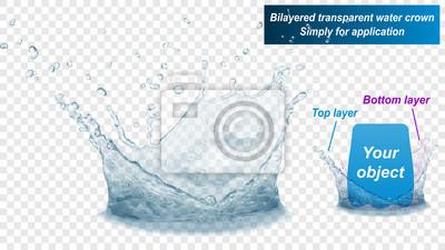 Obraz Korona z przezroczystą wodą składa się z dwóch warstw: górnej i dolnej. W szarych kolorach, na przezroczystym tle. Przezroczystość tylko w pliku wektorowym