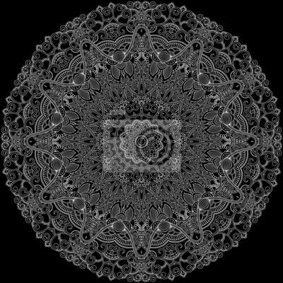 Koronka ozdobnych okrąg na czarnym tle
