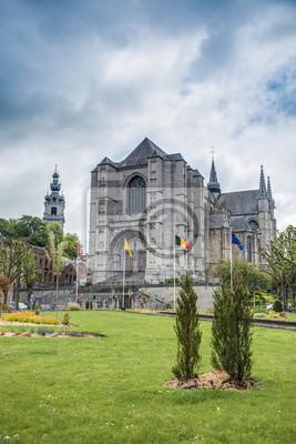 Obraz Kościół św Waltrude w Mons w Belgii.