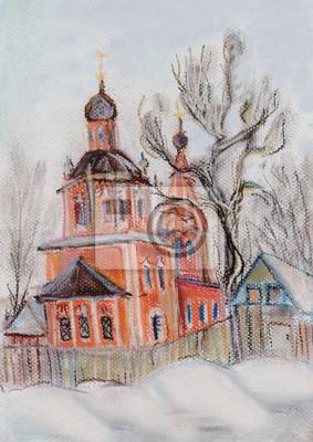 Obraz Kościół w zimie