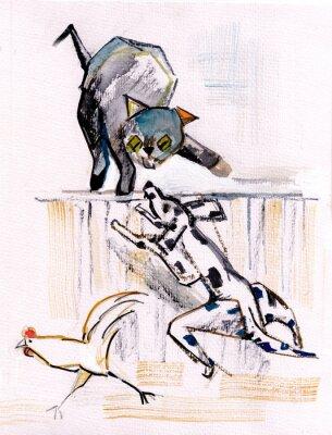Obraz Kot i pies
