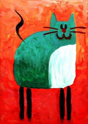 Obraz Kot Rysunek Zabawa Sztuka Malowanie Ręcznie Na Wymiar