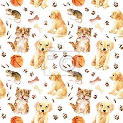 Kotek, szczeniak i mysz bez szwu wzór