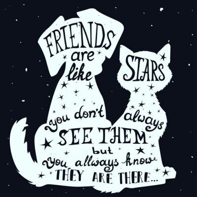 Obraz Kotów i psów przyjaciół grungy karty na dzień przyjaźni z cytatem.