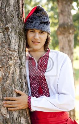 Kozak w krajowych ukraiński strój