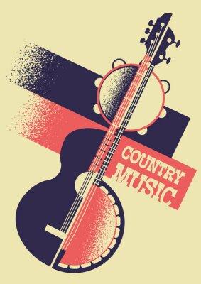 Obraz Kraj muzyki tło z instrumentami muzycznymi i dekoracja tekstem. Wektorowy retro plakat