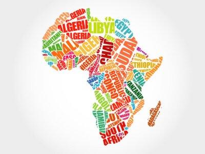 Obraz Kraje afrykańskie mapie typografii Word chmura koncepcji