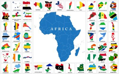 Obraz kraje Afryki flaga mapy