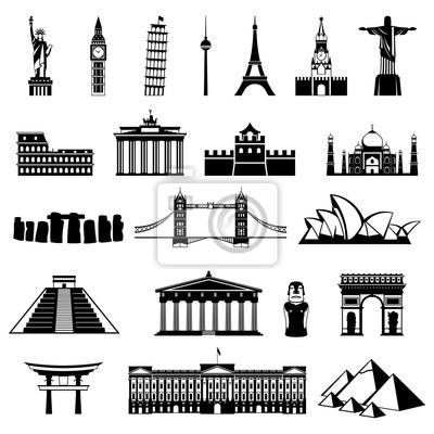 Obraz Kraje sylwetki świata. Ikona architektury, pomnik lub punkt orientacyjny.