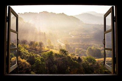 Obraz krajobraz charakter widoku tle. widok z okna na wspania? y krajobraz charakter widok z tarasami ry? ui przestrze? dla tekstu w Chiangmai, Tajlandia, Indochina