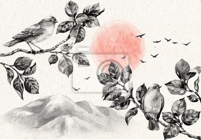 Obraz Krajobraz z brzasku i ptaki na gałęziach