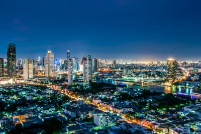 Obraz Krajobraz zmierzchu widok na widok z góry Bangkoku