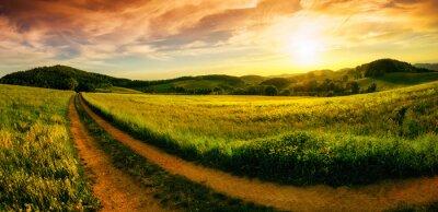 Obraz Krajobrazu wiejskiego słońca panoramy
