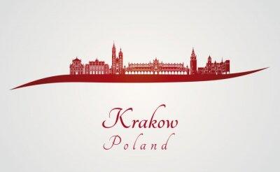 Obraz Kraków skyline w kolorze czerwonym