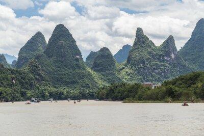 Obraz Kras Góry i szczyty wapienne Li rzeki w Chinach