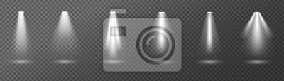 Obraz Kreatywnie wektorowa ilustracja jaskrawi oświetleniowi światła reflektorów ustawia, źródła światła odizolowywający na przejrzystym tle. Belka Art Design na koncert, oświetlenie sceny. Element graficzn