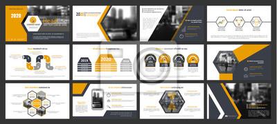 Obraz Kreatywny zestaw abstrakcyjnych elementów infograficznych. Nowoczesny szablon prezentacji z tytułem. Broszura w kolorze żółtym, ciemnoniebieskim, białym i szarym. Ilustracji wektorowych. Obraz ulicy m