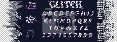 Kreska zniekształceń glitch. Litery i cyfry. Zestaw abstrakcyjny wzór tła w nowoczesnym stylu zniekształcony usterki. Modne szablony do okładek plakatów, banerów, ulotek, plakatów, zdjęć.